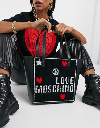 Love Moschino embroidery shopper bag in black