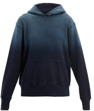 LES TIEN Ombre Brushed-back Cotton Hooded Sweatshirt - Navy