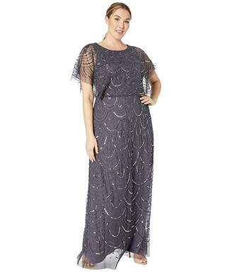 Adrianna Papell Plus Size Beaded Blouson Flutter Sleeve Gown