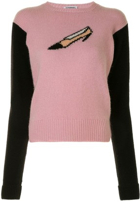 Chanel Pre Owned Cashmere Shoe Intarsia Jumper