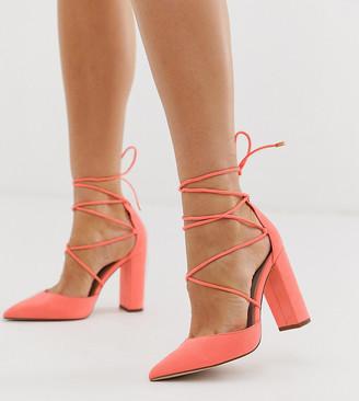 Asos Design DESIGN Wide Fit Power Trip high block heels in neon pink