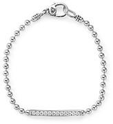 Lagos Sterling Silver Caviar Spark Diamond Bar Chain Bracelet