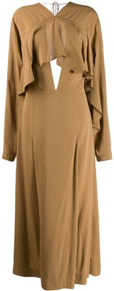 Victoria Beckham Long-Sleeved Draped Dress