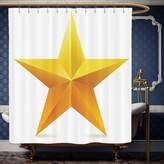 Wanranhome Custom-made shower curtain Yellow Decor Single Golden Star on Plain Background Christmas Celebration Art Decorative Yellow White For Bathroom Decoration