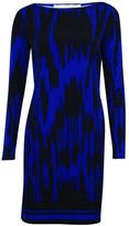 MICHAEL Michael Kors Womens Pattern Long Sleeves Cocktail Dress Blue S