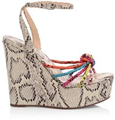 Schutz Andrelisa Snakeskin-Embossed Leather Platform Wedge Sandals