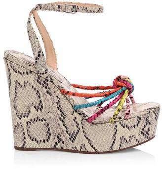 Schutz Andrelisa Snakeskin-Embossed Leather Platform Wedge Sandals