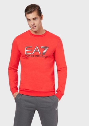 Emporio Armani Round-Neck Sweatshirt With Metallic Maxi Logo