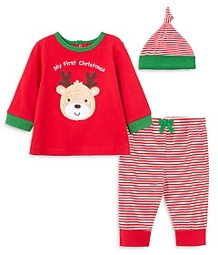 Little Me Unisex 3-Piece First Holiday Top, Jogger Pants & Hat Cotton Set - Baby