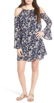 Lush Women's Floral Print Cold Shoulder Dress