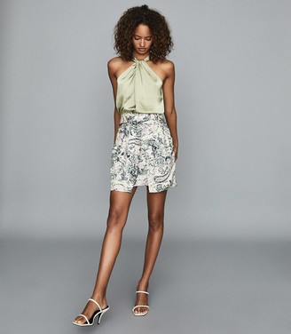 Reiss AMY FLORAL PRINTED MINI SKIRT Green Print
