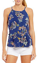Copper Key Printed Side Lace-Up Tank Top