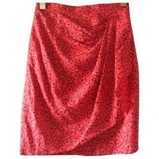 Azzaro Red Silk Skirt for Women Vintage