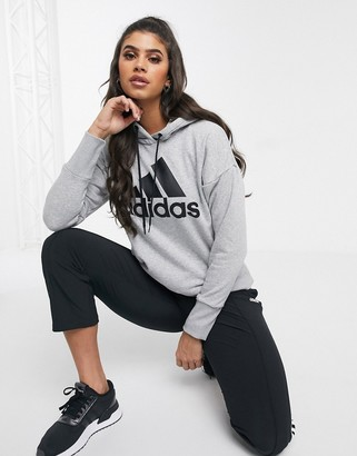 adidas Training hoodie with large logo in grey marl