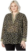 MICHAEL Michael Kors Plus Size Mix Print Popover (Black/Bright Dandelion) Women's Clothing