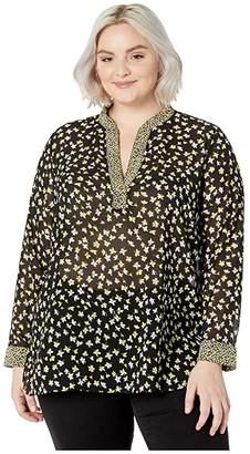 MICHAEL Michael Kors Size Mix Print Popover (Black/Bright Dandelion) Women's Clothing