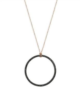 ginette_ny Circles 18K Rose Gold & Black Diamond Circle Pendant Necklace