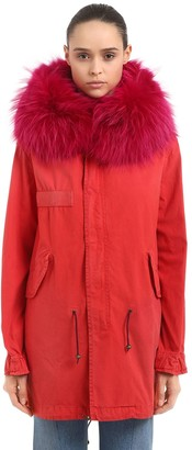 Mr & Mrs Italy Midi Saline Cotton Canvas Parka W/ Fur