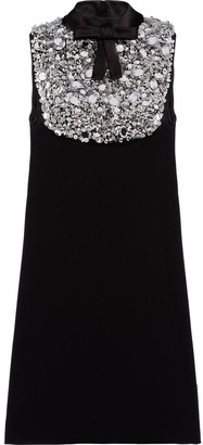 Prada embellished bow-detail A-line dress