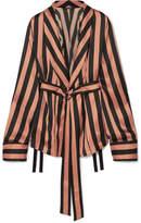 Ann Demeulemeester Striped Silk-satin Jacket - Black