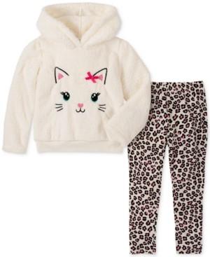 Kids Headquarters Baby Girls 2-Pc. Kitty Hoodie and Leopard-Print Legging Set