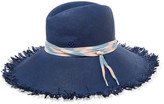 Maison Michel Ginger Shoelace-trimmed Frayed Straw Sunhat - Navy