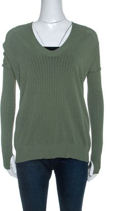 Zadig and Voltaire Olive Green Perforated Knit Preppy Ve Sweater M