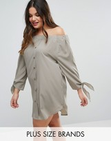 AX Paris Plus Off Shoulder Dress With Tie Sleeves