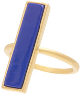 Freida Rothman 14K Gold Plated Sterling Silver CZ Bricked Lapis Ring - Size 5