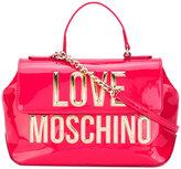 Love Moschino metallic logo fold-over tote - women - Polyurethane - One Size