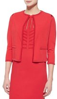 Escada Knit-Trimmed Open Cardigan, Tivoli Red