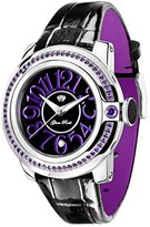 Glam Rock Women's GR32047 SoBe Amethyst Accented Black Dial Black Shiny Patent Leather Watch