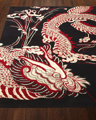 Josie Natori Black Dragon Rug, 5' x 7'