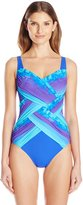 Gottex Women's Pixel Ombre Shaped Square Neck One Piece Swimsuit