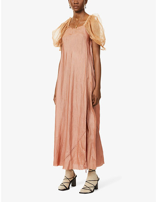 Puffed-sleeve silk and wool-blend maxi dress