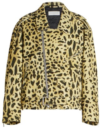 Dries Van Noten Vornlow Leopard-Print Corduroy Moto Jacket
