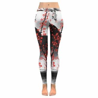 Quemin Mother's Day Yoga Pants for Women Custom Cherry Blossom Landscape Stretchy Capri Leggings Skinny Pants for Yoga Running Pilates Gym XL