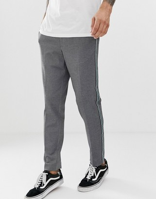 Burton Menswear tapered fit trousers with side stripe in grey