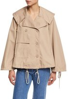See by Chloe Boxy Cotton Twill Drawstring Jacket, Straw