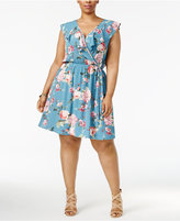 Soprano Trendy Plus Size Faux-Wrap Fit & Flare Dress