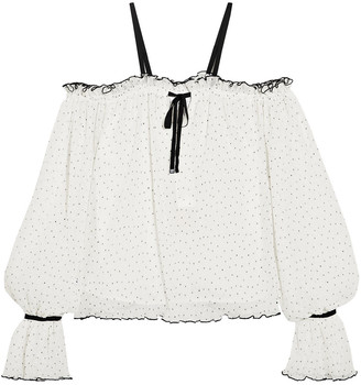 Alice McCall Cold-shoulder Polka-dot Fil Coupe Top