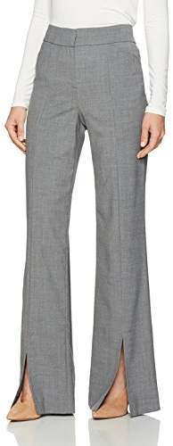 Halston Women's Straight Leg Suiting Pants with Front Slits