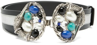 Sonia Petroff - Swan Cabochon-embellished Leather Belt - Blue Multi