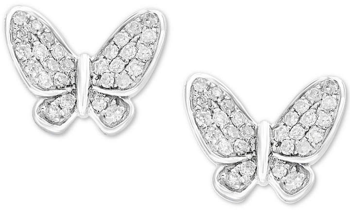 Effy Kidz Children's Diamond Butterfly Stud Earrings (1/6 ct. t.w.) in 14k White Gold