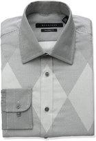 Sean John Men's Tailored Fit Diamond Dot Spread Collar Dress Shirt, French Grey