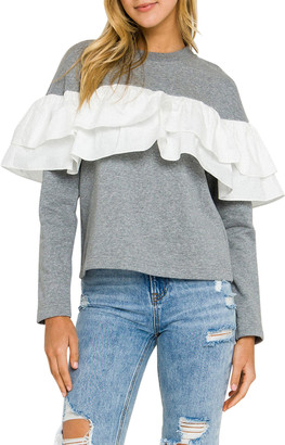 ENGLISH FACTORY Ruffle-Detail Sweatshirt