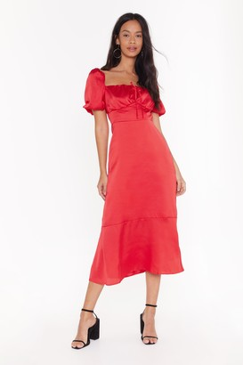 Nasty Gal Womens As It Satins Square Neck Midi Dress - Red