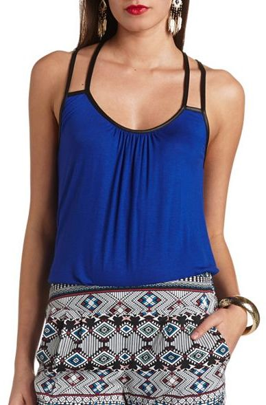 Charlotte Russe Faux Leather Trimmed Strappy Tank Top