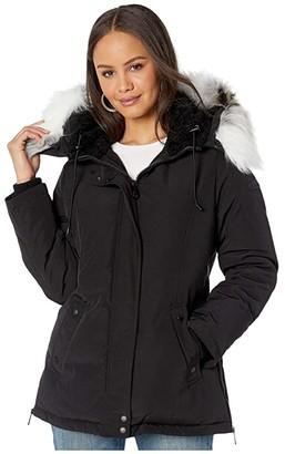 Sam Edelman Short Hooded Parka (Black) Women's Coat