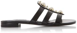 Dune Nikole Embellished Pearl And Stud Flat Sandals